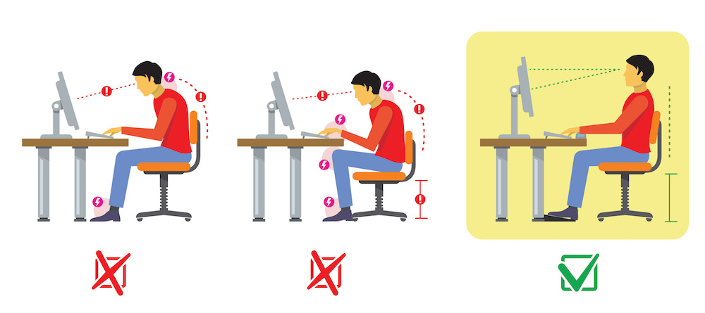 Correct seating position at a computer